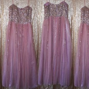 Adrianna Papell Lilac Sequin Prom Dress